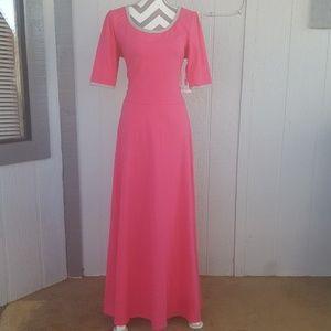 LuLaRoe Ana Pink Gray A-Line Long Maxi Dress